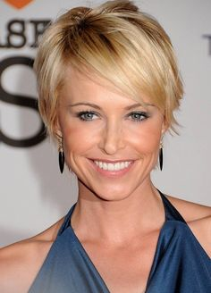 Chic Short Sleek Haircut with Side Swept Bangs - Josie Bissett's Short Hairstyle