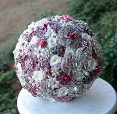 Cherry Pink Wedding Broach Bouquet via Etsy.