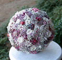 Cherry Pink Wedding Broach Bouquet via Etsy.