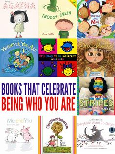 I choose this picture because it is a great collection of picture books for kids exploring what it is that makes them uniquely them! Celebrating individuality and diversity, these books help kids learn to love themselves and love others. Kids Reading, Reading Lists, Reading Club, Reading Resources, Reading Projects, Reading Nook, Guided Reading, Preschool Books, Preschool Plans