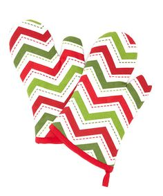 holiday zigzag oven mitt set of two by design imports zulily drseuss