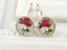 Sommer Ohrringe in rot silber mit einzelner Blüte von Schmucktruhe