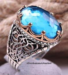 Turkish handmade 925 Sterling Silver Aquamarine Stone Mens man ring ALL SİZE us Silver Chain For Men, Cheap Silver Rings, Mens Silver Rings, Chains For Men, Silver Man, Rose Gold Infinity Ring, Gold Knot Ring, Men's Jewelry Rings, Boho Jewelry