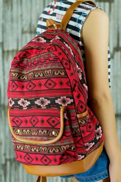Red Abstract tribal native design backpack/ School Bag/ Ethnic rucksack/ holiday bag / Hippie /Boho ethnic gypsy woven tapestry hobo bag