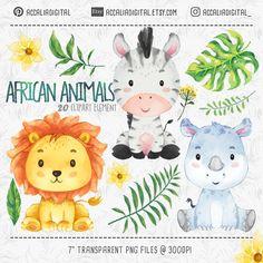 African animals Clipart set watercolor animal sticker, Lion sticker, animals buddies, friendly an