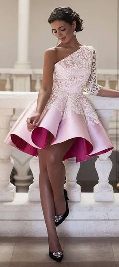 short homecoming dresses,one shoulder homecoming dresses,lace homecoming dresses,short pink prom dresses for teens