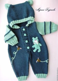 Baby Knitting Patterns Clothes Für die kalten Tage strickst D Fair of Masters - handmade. Buy Overalls with Mishutka . Combined, knitting to order, Italian yarnKnitting Patterns Boy For the cold days knit DElly in her fall outfit.This Pin was discov Baby Boy Knitting Patterns, Knitting For Kids, Baby Patterns, Crochet Patterns, Knitting Projects, Sweater Patterns, Knitting Charts, Cardigan Pattern, Knitting Stitches