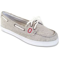 Campus Cruzerz Ohio State Buckeyes Kauai Boat Shoes - Women ($45) ❤ liked on Polyvore featuring shoes, sperry top-sider shoes, boat shoes, lace up shoes, embroidered shoes and grey shoes