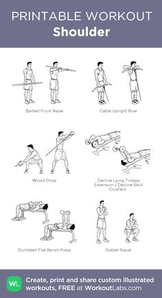 Shoulder: my visual workout created at WorkoutLabs.com • Click through to customize and download as a FREE PDF! #customworkout