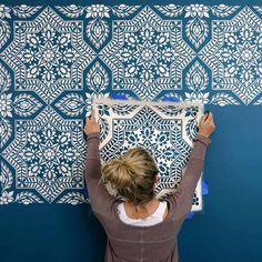 Try Damask stencils instead of pricey damask wallpaper! Our damask stencils are easy to use and very cost effective. Classic stencils, damask stencil patterns, wallpaper stencils for DIY decor. Large Wall Stencil, Stencil Painting On Walls, Large Stencils, Tile Stencils, Painting Patterns On Walls, Stenciling Walls, Stencil Decor, Large Painting, Stenciled Curtains