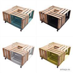 Wooden crate. Fruit box. Wooden box. Box. Caja de madera. Caja de fruta. Vintage. Table. Colors. Coming soon. Recycle. Deco. Wood. Madera. Crates. Made in spain. Vintage. www.enkaja.es