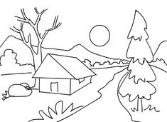 Nature Drawing Coloring Elegant Printable Scenery Coloring Pages Printable Art Drawings For Kids, Ink Pen Drawings, Drawing For Kids, Painting For Kids, Easy Drawings, Coloring Pages Nature, Adult Coloring Pages, Coloring Books, Easy Scenery Drawing