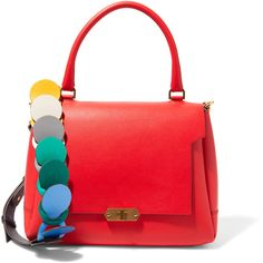 Anya Hindmarch Bathurst small leather shoulder bag ($1,815) ❤ liked on Polyvore featuring bags, handbags, shoulder bags, red, real leather purses, red purse, leather shoulder handbags, genuine leather handbags and woven leather handbags