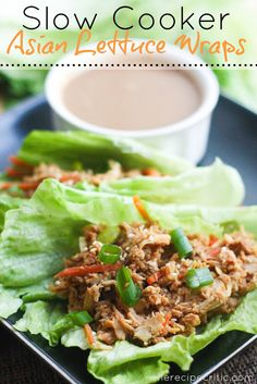 Slow Cooker Asian Chicken Lettuce Wraps at https://therecipecritic.com  These are so delicious and healthy for you!  They taste just like eating at a resturaunt!