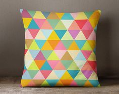 Geometric pillow cover with colourful and big by JAYSANSTUDIO