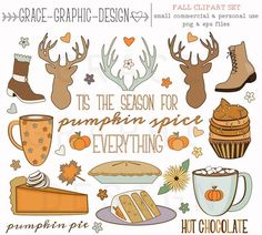 Fall Thanksgiving CLIPART, Autumn clipart, nature clipart, digital illustrations, instant download e