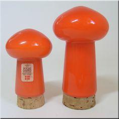 Holmegaard orange glass salt + pepper pots/shakers from the Palet range, designed by Michael Bang, labelled.