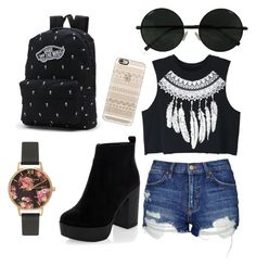 """""""Coachella☀"""" by anezka-majerova on Polyvore featuring Casetify, WithChic, Topshop, New Look, Vans and Olivia Burton"""