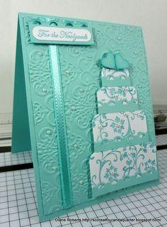 handmade celebration card ... monochromatic aqua ... gorgerous multi-layer cake ... baroque embossing folder texture on main layer ... luv | http://weddingcardtemplates.blogspot.com