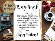 ~Bridal Shower Game~ Ring Hunt – have your guests scouring the place looking for rings placed all over the bridal shower! This game template is an ~instant download~ which means you can easily download and print the template as many times as you need either at home or using a Printable Bridal Shower Games, Wedding Shower Games, Simple Bridal Shower, Bridal Games, One Ring, Printing Services, Templates, Fun, Times