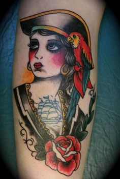 tattoo old school / traditional nautic ink - doll face pirate pinup