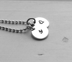 Small Initial Necklace with Heart Charm by GirlBurkeStudios