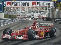 Michael Schumacher racing for Ferrari, Mon aco Grand Prix 2003