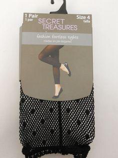 Women Footless Tights PLUS SIZE 4 Solid Black SECRET TREASURES No Bind Waistband #SecretTreasures #Footless