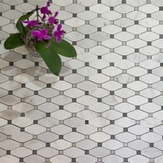 COOL FOR FLOOR IN BATH Rhomboid Shaped Mosaics in White Marble, with Grey Accents