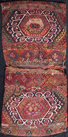 heybe saddle bag from east Anatolia, Turkey. It was made by yoruk nomads in the village of Sinan, their winter camp, in the late 1800s in the Malatya region.