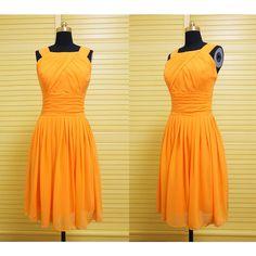 Orange Short Chiffon Homecoming Dress ($79) ❤ liked on Polyvore featuring dresses, black, women's clothing, black mini dress, short cocktail prom dresses, black dress, black chiffon dress and prom dresses