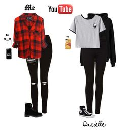 """""""We're Back ;)"""" by hanakdudley ❤ liked on Polyvore featuring BLK DNM, Topshop, Chicnova Fashion, Converse, Rails, Dr. Martens and ASOS"""