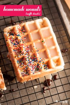 Homemade Wonuts (Waffle Donuts) with a sugary vanilla glaze and a chocolate glaze with rainbow sprinkles Köstliche Desserts, Delicious Desserts, Dessert Recipes, Yummy Food, Waffle Desserts, Crepe Recipes, Brunch Recipes, Breakfast Recipes, Waffle Maker Recipes