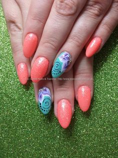 Orange and mint gel polish with one stroke flower nail art