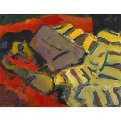 Artwork by Gernot Kissel, Liegende auf Sofa, Made of oil on canvas