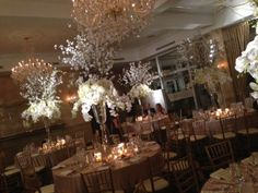tall elegant branches and and all white florals