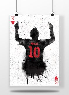 Lionel Messi | King Of Hearts| fc Barcelona, La Liga, Illustrated football poster, Home Decor – High Quality Print (300 gsm) – Gloss finish – Worldwide Delivery – UK delivery by 1st Class Royal Mail – Delivery estimate of 3-5 working days, may be longer for non-UK orders – Posters