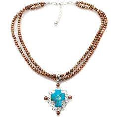 Jay King Kingman Turquoise Cross Pendant; turquoise + copper + silver