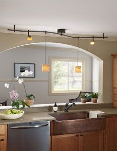pendant lighting on a track. : Trendy Home Cooking Room Idea Painted In White And Brown Illuminated By Curled Pendant Track Lighting | Pinterest Home, On A N
