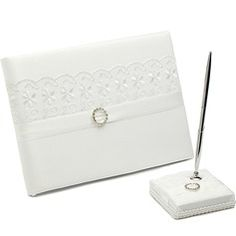 Guestbook - $36.99 - Beautiful Lace/Satin Rhinestones/Bow/Sash Guestbook & Pen Set  http://www.dressfirst.com/Beautiful-Lace-Satin-Rhinestones-Bow-Sash-Guestbook-Pen-Set-101025562-g25562