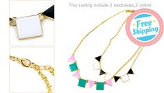 *TWO* Geo Shape Feature Necklaces