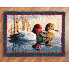 A beautiful design for your floor or to hang on a wall. Redhead Duck, Latch Hook Rug Kits, Rug Yarn, Rug Hooking, Wildlife, Ducks, Floor, Projects, Mary