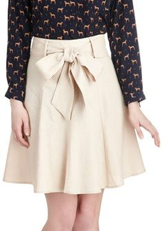 Musee Matisse Skirt - Mid-length, Tan, Solid, Belted, Work, Daytime Party, A-line, Variation