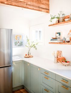 sage green kitchen cabinets, white kitchen decor kitchen cabinets 5 Reasons We Chose Compact Appliances For a Midsize Kitchen Reno Sage Green Kitchen, Green Kitchen Cabinets, Kitchen Redo, Home Decor Kitchen, New Kitchen, Home Kitchens, Kitchen Backsplash, Kitchen Ideas, Green Kitchen Decor
