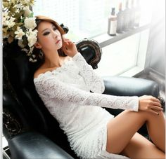 Autumn Fashion Long Sleevelace White Dress