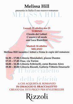 I dettagli del #booktour italiano di @Melissa Hill Venite ad acquistare la vostra copia autografata! @melissahillbks #BraccialettoDellaFelicità