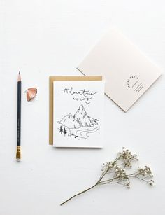 Beautiful hand printed letterpress card. Adventure awaits greeting card by www.isabelzarth.com. Inspired by the Australian Coastline. Design by Isabel Zarth