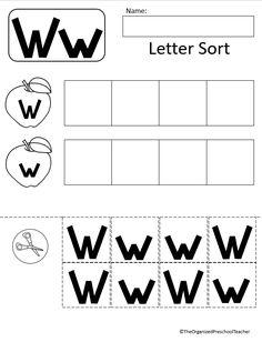 Phonics Activities, Alphabet Worksheets, Preschool Worksheets, Preschool Lesson Plans, Preschool Letters, Preschool Crafts, Letter Of The Week, Letter W, Curriculum