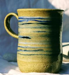 Pottery Mug, Stoneware clay,hi fired, cobalt blue and white slip decorated Blue, Microwave and Dishwasher-safe, Wheel-Thrown by FireonClay on Etsy White Slip, Stoneware Mugs, Pottery Mugs, Cobalt Blue, Microwave, Dishwasher, Blue And White, Fire, Unique Jewelry