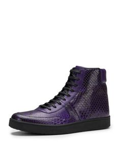 How incredible are these? Damn, I want them. Todd Python High-Top Sneaker, Purple by Gucci at Neiman Marcus.